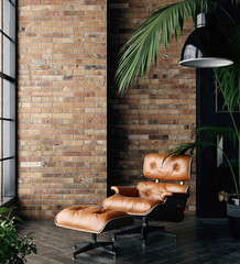 Wall Mural - Living room loft in industrial style ,3d render