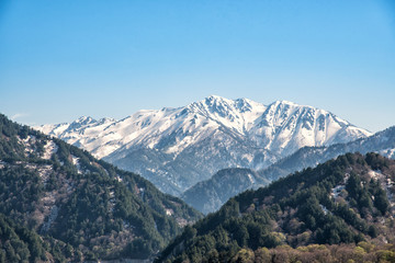 Snow mountain range at Tateyama Kurobe Alpine Route.