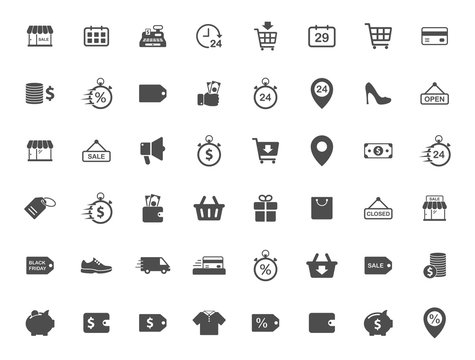 black friday vector icons set isolated on white background. promo advertising black friday icons for web and ui design.