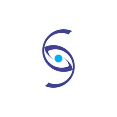 Letter S or CD with Eyes vision logo design vector