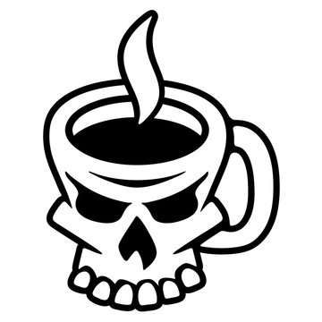 Coffee Skull Isolated Vector Illustration