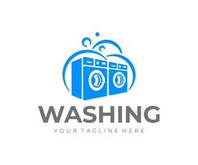 Сommercial laundry logo design. Washing machine vector design. Laundromat logotype