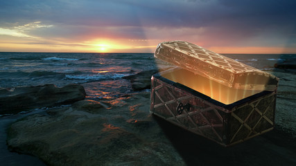 Mysterious chest on the shore of the moving sea. In the chest are not gold and not precious stones, but the gentle sun and clean air above the morning land