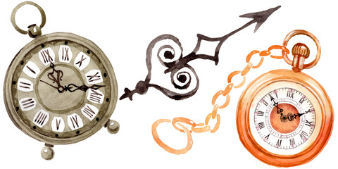 Vintage old clock pocket watch. Watercolor background illustration set. Isolated clocks illustration element.