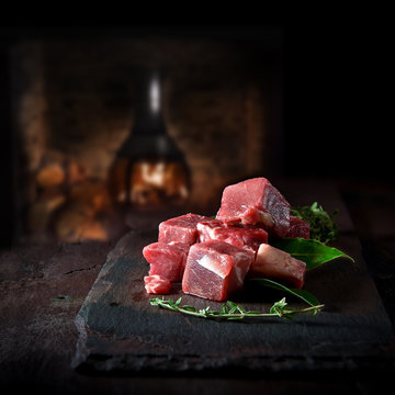 Prime diced beef prepared for cooking