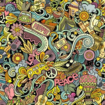 Hippie hand drawn doodles seamless pattern. Hippy background.