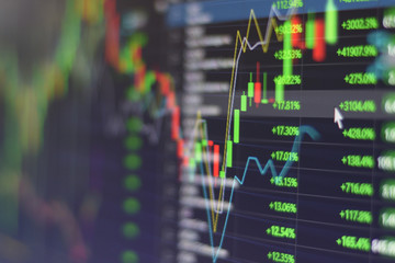 Stock market graph chart with indicator investment trading stock exchange trading market monitor screen close up