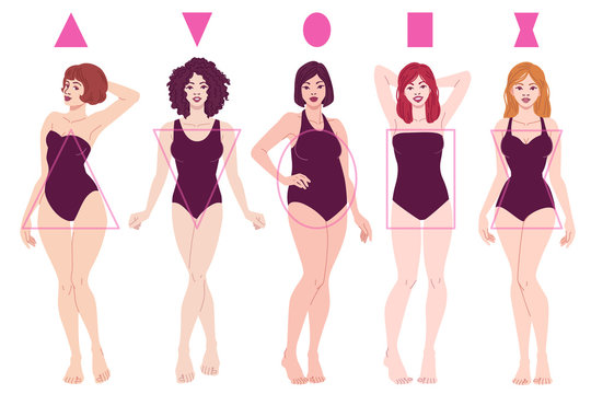 Female Body Shape Types - Pear, Inverted Triangle, Apple, Rectangle, Hourglass. Vector fashion illustration isolated on white background.