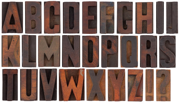 complete alphabet in wood vintageletterpress printing blocks