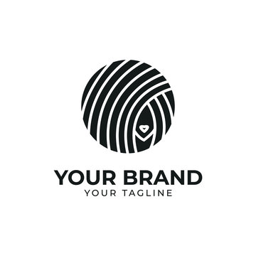 silhouette of woman hair logo template in circle and monoline shape