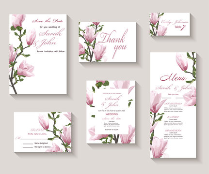 Wedding invitation with twig blooming Magnolia. Magnolia flowers, watercolor, isolated on white.  Vector Watercolour.