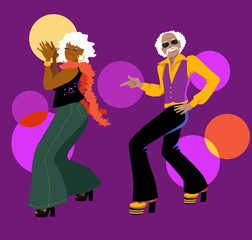 Fototapete - Senior couple dressed in 1970s club fashion dancing disco, EPS 8 vector illustration