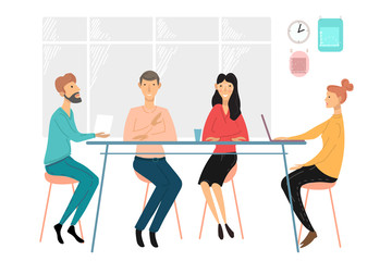 Business people meeting. Team discussion. Negotiate new projects and plans. Business strategy discussion cartoon vector illustration.