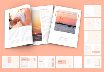 Magazine Layout with Peach Elements