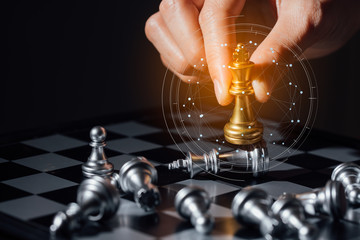 Business futuristic graphic icon,silver and golden chess board game.strategy ideas and connection concept in vintage color tone. Wall mural