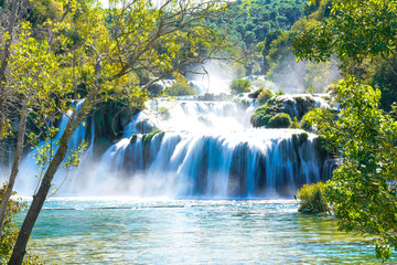 Long-Exposure Image of Krka Waterfall in Croatia