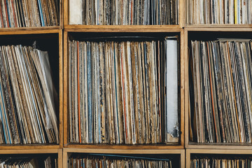Front close-up of shelf with vinyl records