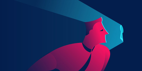 man looking into keyhole. non disclosure agreement, spying or information security concept in red and blue neon gradients Wall mural