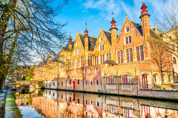Wall Murals Bridges Old medieval house on the canals in fairytale town Bruges at morning, Belgium