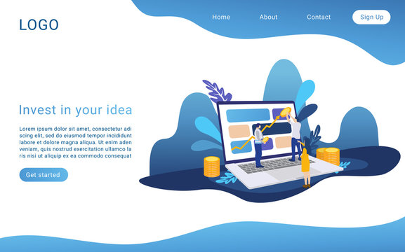 Invest in your idea landing page isometric vector template. Business process 3d concept. Venture investment. Capital growth. Income increase project. Startup management website homepage layout