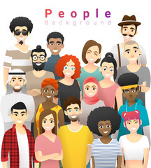 Diversity concept background , group of happy multi ethnic people standing together , vector , illustration