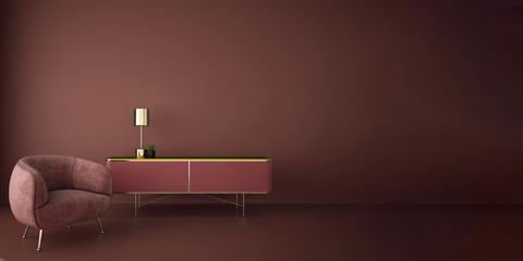 interior design for living area or reception in modern concept design/ 3d illustration,3d rendering Wall mural