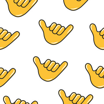 Call me hand sign emoji seamless pattern. Chat emoticon icon background. Smoke gesture.