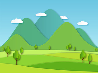 Fototapeten Lime grun Paper field landscape. Summer landscape with green hills and blue sky, white clouds. Layered papercut creative vector 3d nature image