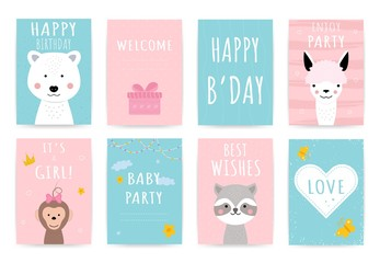 Hand drawn card with cute animals. Blue pink birthday greeting postcard, party, baby shower invitation. Posters in pastel colors