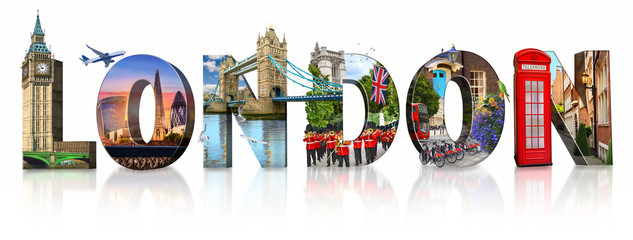 Foto op Aluminium Londen London city landmarks. Word illustration of most famous London monuments and places
