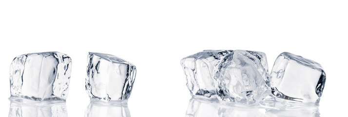Natural crystal clear ice cubes on white background. Wall mural