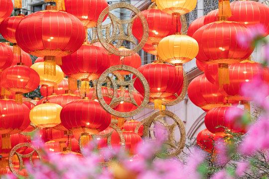 Chinese New Year decorations on Lee Tung Avenue, Wan Chai, Hong Kong Island, Hong Kong