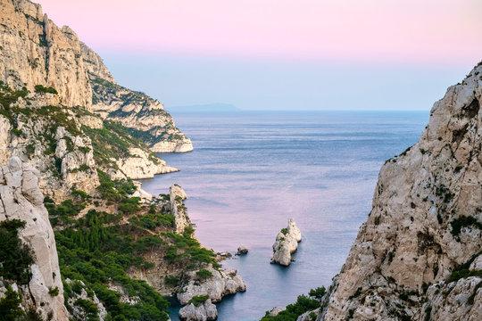 Mediterranean landscape at Calanque de Sugiton, Parc National des Calanques, Bouches-du-Rh?ne, Provence-Alpes-C?te d'Azur, France.