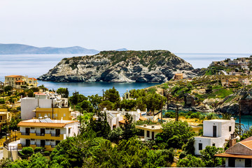 View of Agia Pelagia resort in the mountains of Crete in Greece