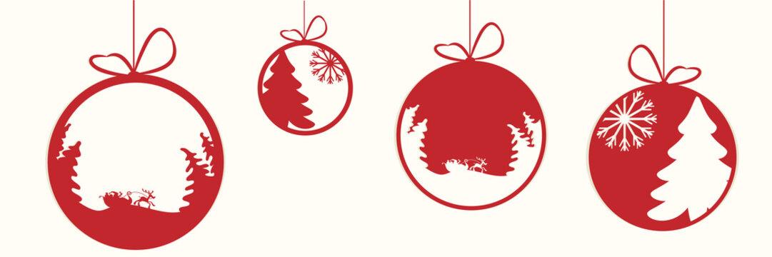 Decorative Christmas baubles vector illustration