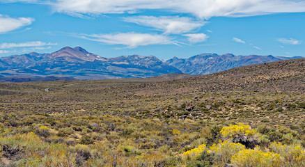 Panoramic view from Bodie, California of high desert and the Eastern Sierra Nevada Mountains