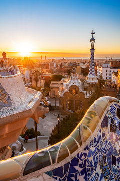 Sunrise at Park Guell, Barcelona, Catalonia, Spain