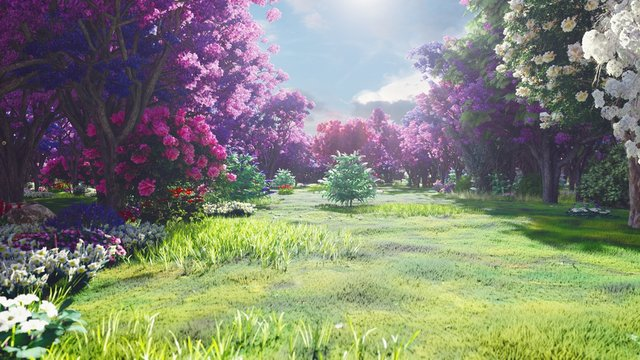 Forest crowns of fairy trees with bright sunlight, flying dandelions and butterflies. Magic forest at sunrise. 3D Rendering