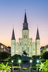 United States, Louisiana, New Orleans, French Quarter. Jackson Square and St. Louis Cathedral at dusk.