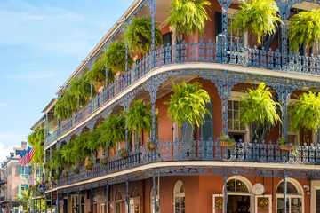 United States, Louisiana, New Orleans. French Quarter balconies on Royal Street.