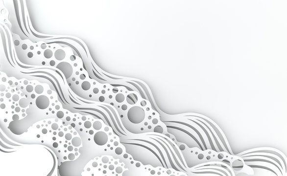 Abstract white paper art sea or ocean water waves. Summer background. Paper sea waves with lines and bubbles. Paper cut style 3d render