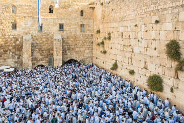 Jews praying at Western Wall on Jerusalem Day