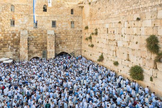 Jews praying at Western Wall on Jerusalem Day