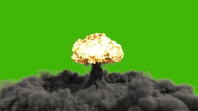 The explosion of a nuclear bomb. Realistic 3D  of atomic bomb explosion with fire, smoke and mushroom cloud in front of a green screen. 3D Rendering