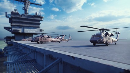 Military helicopters Blackhawk take off from an aircraft carrier at clear day in the endless blue sea. 3D Rendering Fototapete