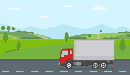 Truck moving on asphalt road along the green fields in rural landscape. Transport services concept. Flat style vector illustration.