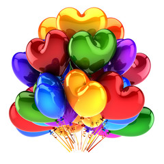 Party event balloons bunch heart shaped colorful Love symbol