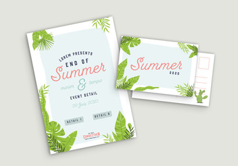 Illustrated Summer Poster and Postcard Layout Set