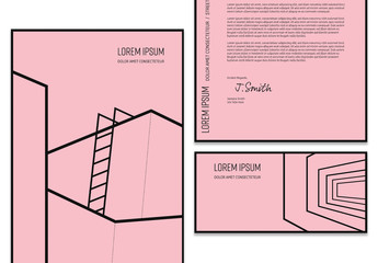Black and Pink Stationery Layout Set