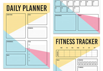 Daily Planner Layout Set with Colorful Geometric Elements